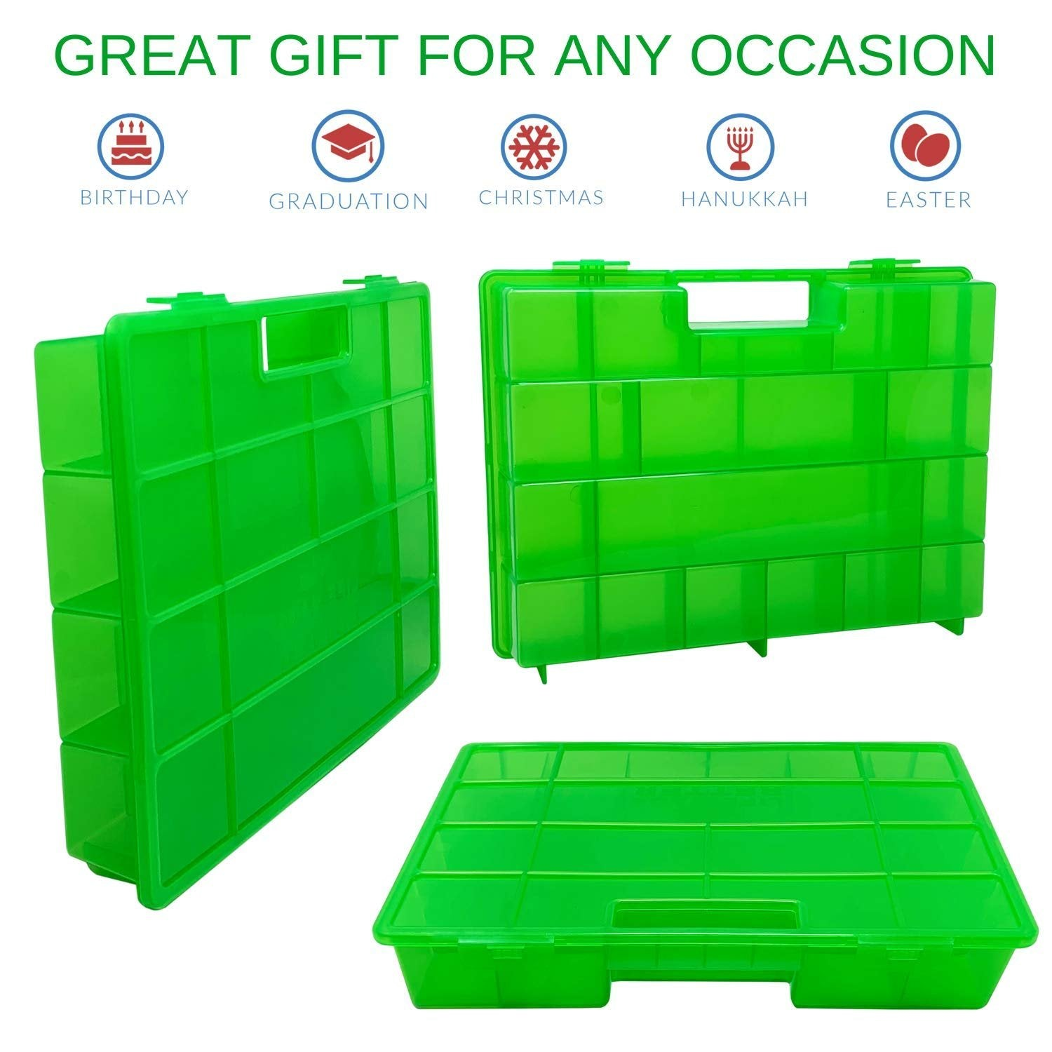 Life Made Better Enhanced Case, Protective, Durable Green Toy Storage Home or On-The-Go Box. Figures Playset Organizer Compatible with Shimmer Shine Teenie Genies, Accessories Kids LMB