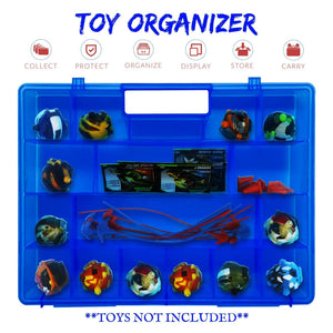 Life Made Better, Slim Blue Toy Storage, Display Box with Spacious Compartments, Compatible with Power Rippers, Toys & Accessories