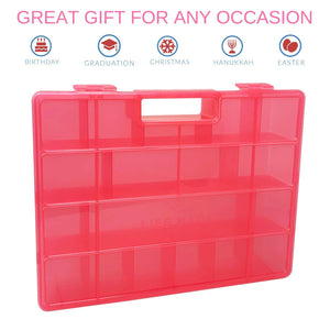 Life Made Better, Redesigned & Strengthened Building Bricks Pink Organizer Case, Toy Storage Carrying Box. Compatible to Store Dozens of Legos & Building Bricks - Reinforced Toy Storage Organizer