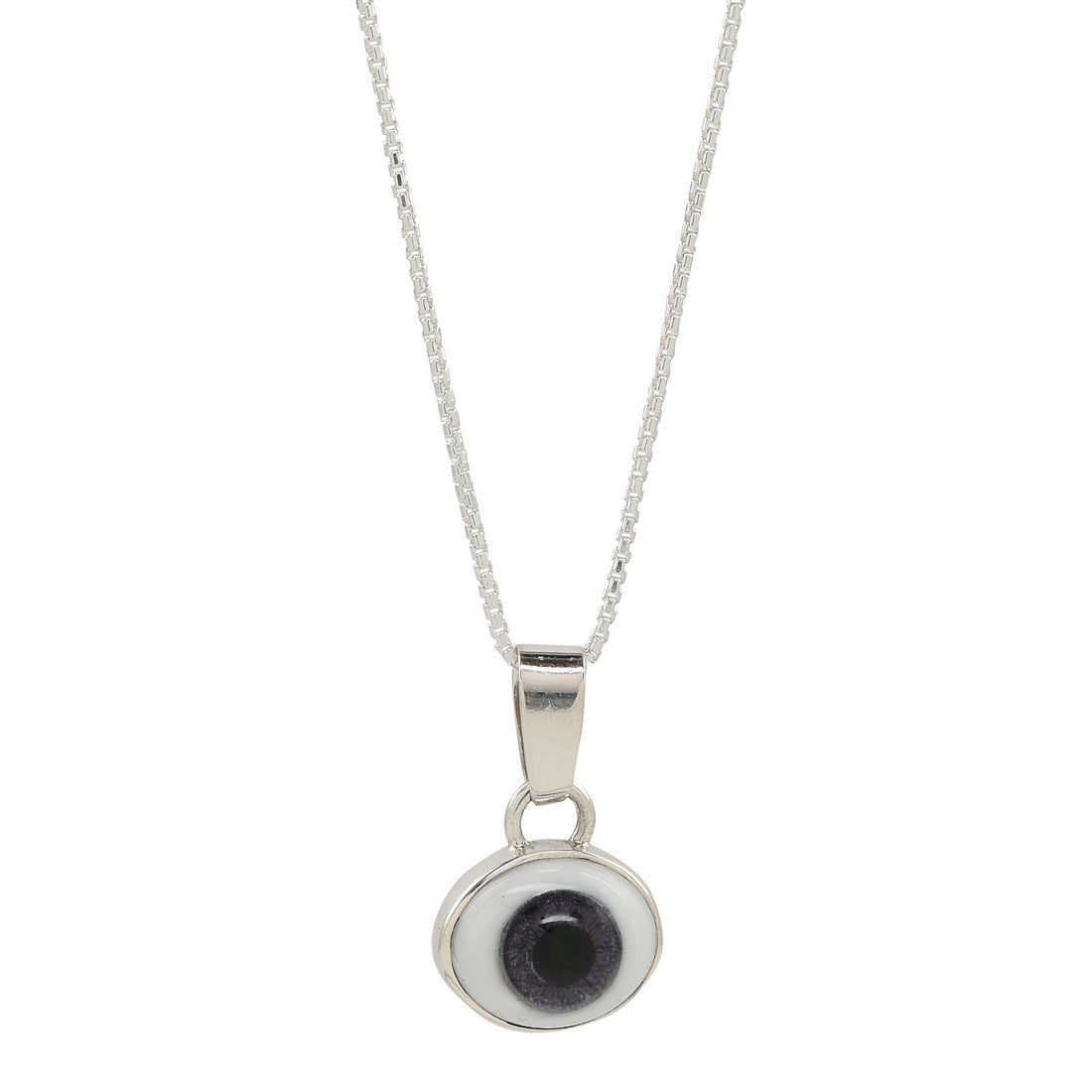 silver eye against evil necklace (slate) - René Habie