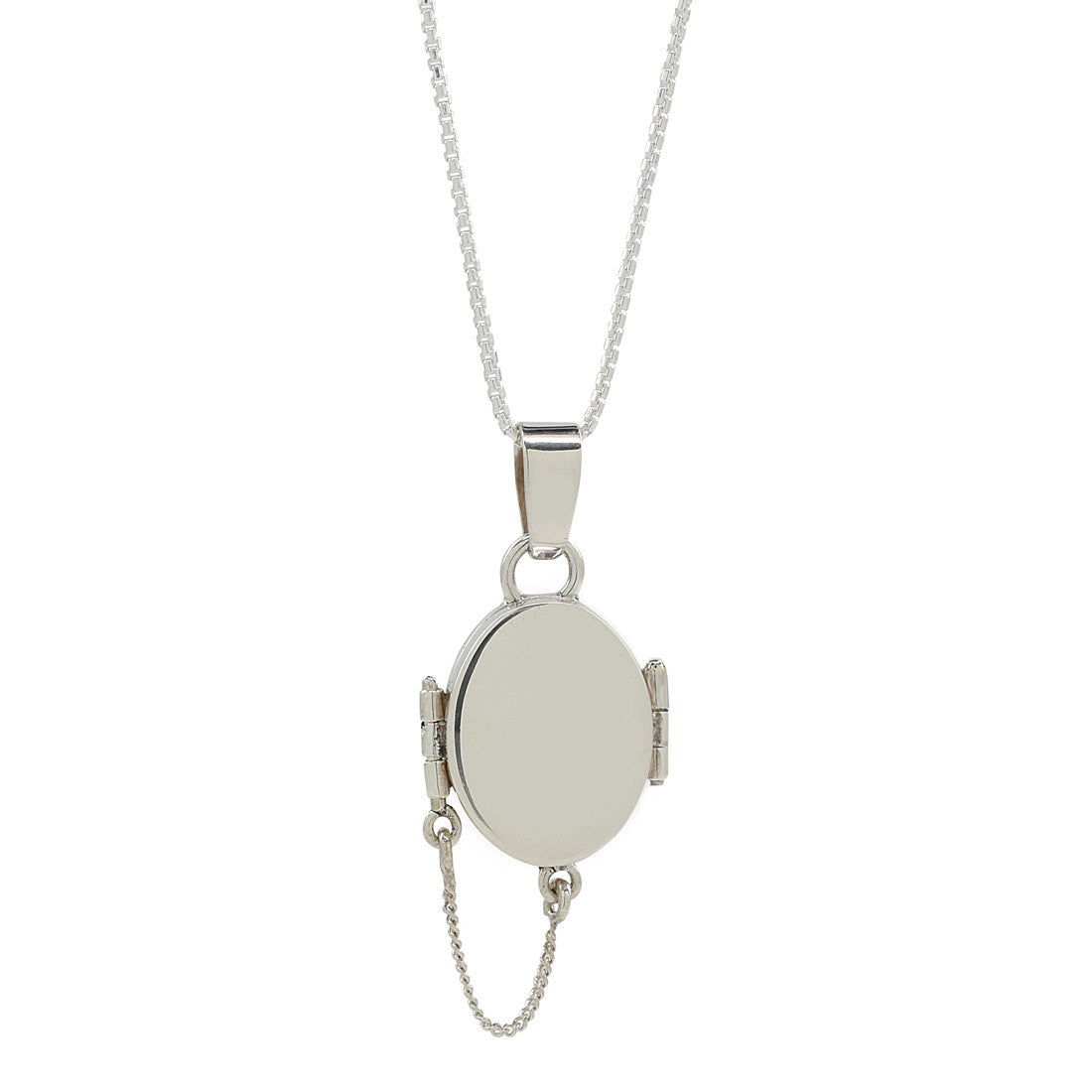 Silver Oval Locket Necklace - René Habie