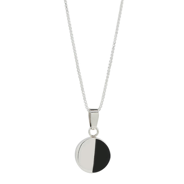 half moon necklace in sterling silver .925 and jade