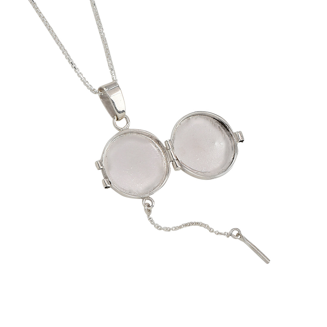 open round locket necklace in sterling silver .925