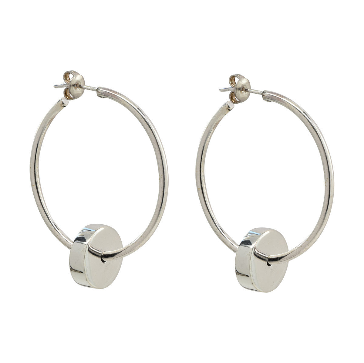 Silver Full Moon Hoops - René Habie