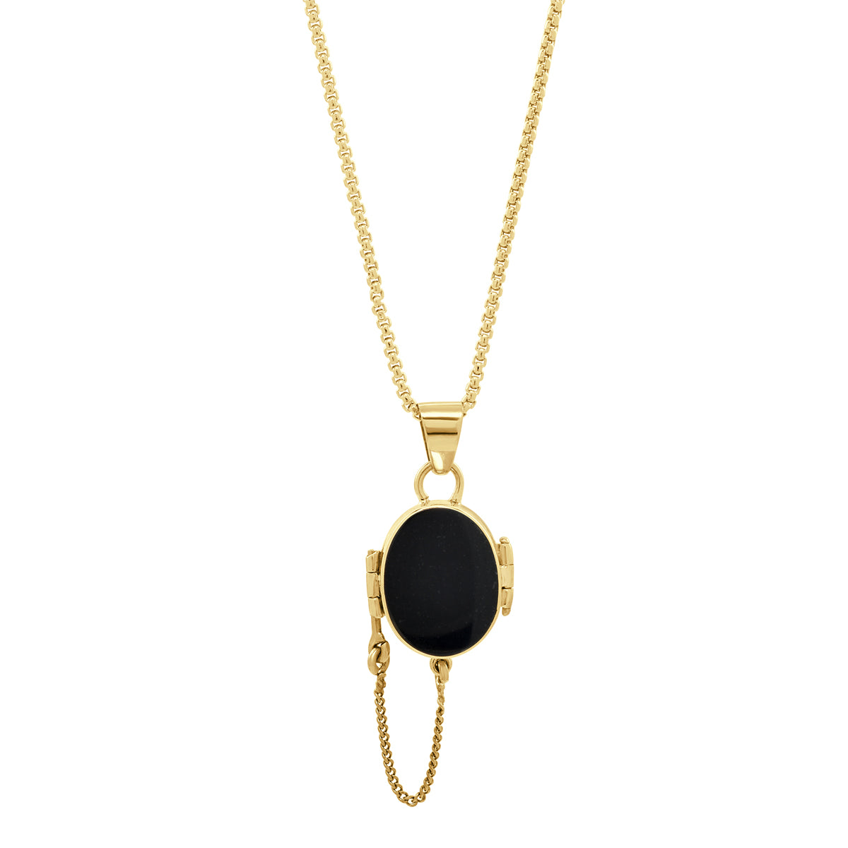 Gold Oval Locket Necklace (Ink) - René Habie