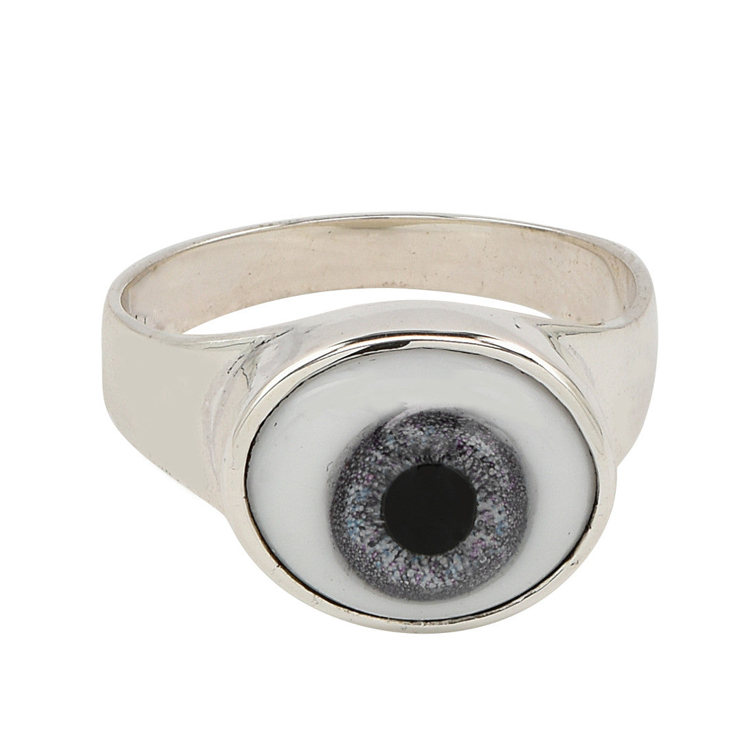 silver eye against evil ring (slate) - René Habie