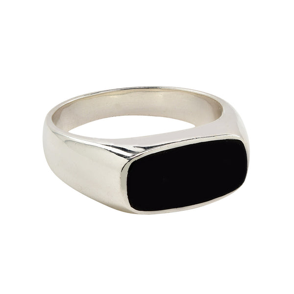 rounded rectangle black signet ring in sterling silver .925 and jade