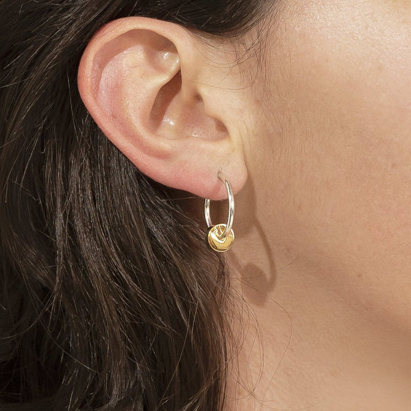 Silver and Gold Mini Full Moon Hoops - René Habie