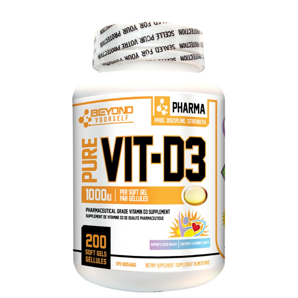 Beyond Yourself Pure Vit-D3 (200 softgels) - Top Nutrition and Fitness Canada