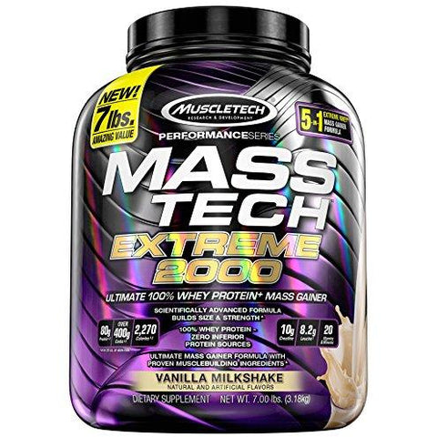 MuscleTech Mass-Tech Extreme 2000 - 100% Whey Protein Mass Gainer (7 lbs)