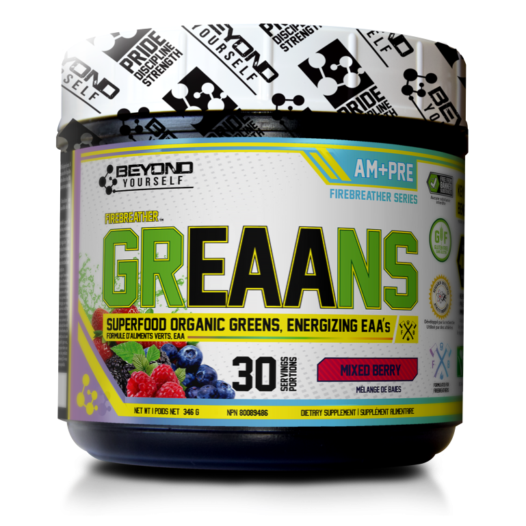 Beyond Yourself GrEAAns (30 servings) Superfood Organic Greens + Vegan EAAs - Top Nutrition and Fitness Canada