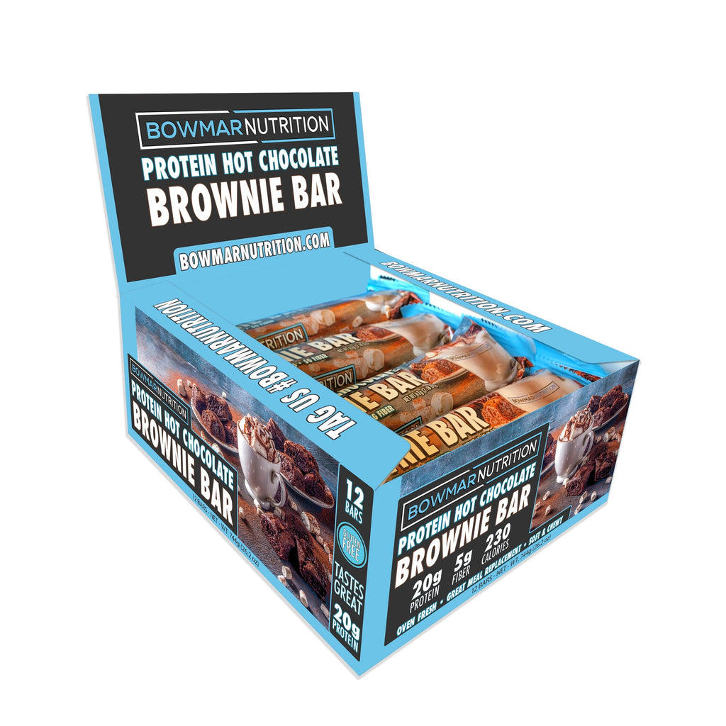 Bowmar Protein Hot Chocolate Protein Brownie Bar (Box of 12) - Top Nutrition and Fitness Canada
