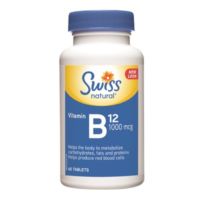 SWISS Natural Vitamin B12 1000 mcg (60 tablets) - Top Nutrition and Fitness Canada
