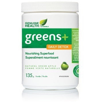 Genuine Health Greens+ Daily Detox 135g - Top Nutrition and Fitness Canada
