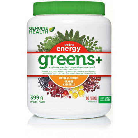 Genuine Health Greens+ Extra Energy 399g - Top Nutrition and Fitness Canada