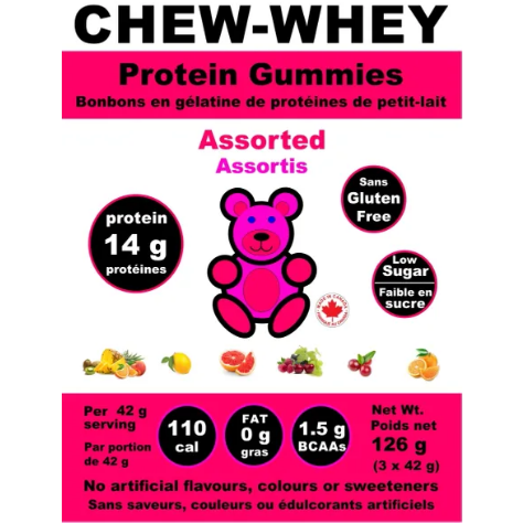 Chew-Whey Protein Gummies (3 servings of 14g protein) - Top Nutrition and Fitness Canada