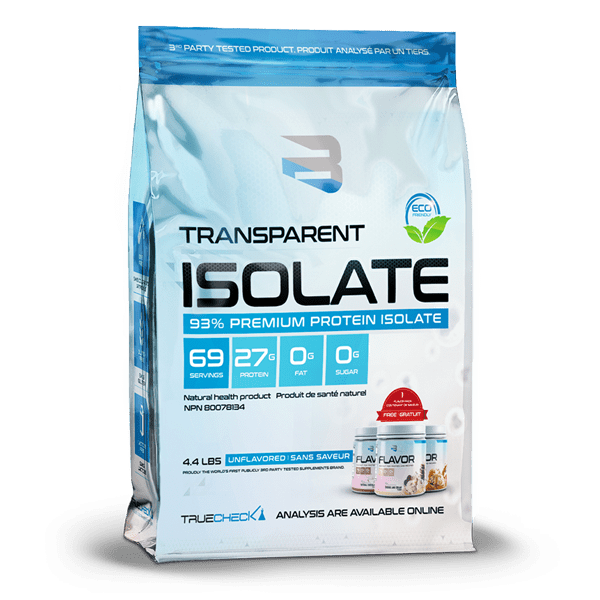 Believe Supplements Whey Protein ISOLATE + Flavor Pack (5lbs) *now in a bag! - Top Nutrition and Fitness Canada