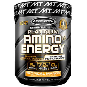 Muscletech Platinum Amino + Energy (with EAAs, BCAAs, Electrolytes and Caffeine)  (30 Servings) - Top Nutrition and Fitness Canada