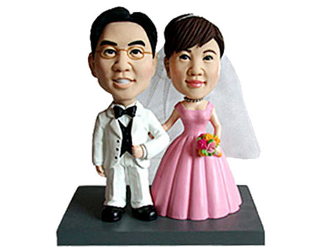 Just Married Bride & Groom Bobbleheads