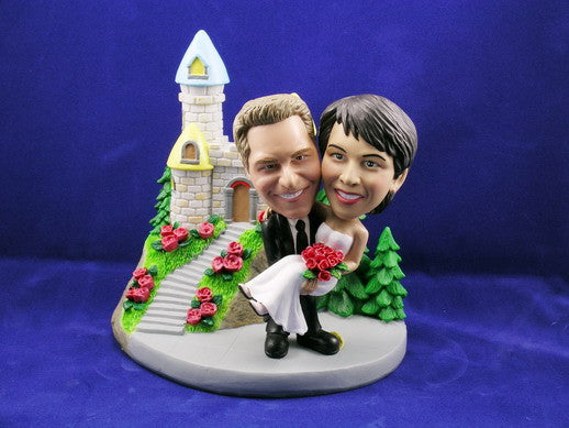 Groom Carrying Bride Castle Theme Bobbleheads