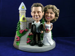 Classic Castle Theme Newlywed Couple Bobbleheads