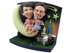 Cupid Couple Moon Theme Bobbleheads