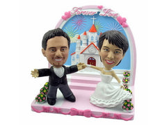 Bobblehead Holding Hands Wedding in Church