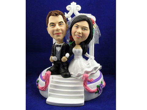 Wedding Chapel Photo Bobblehead Couple