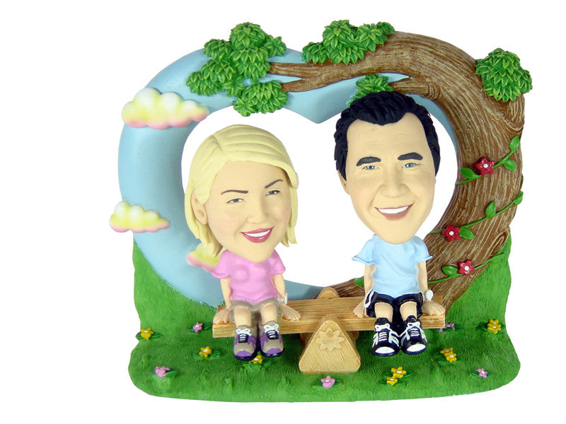 Cute See-Saw Themed Couple in Park Bobbleheads