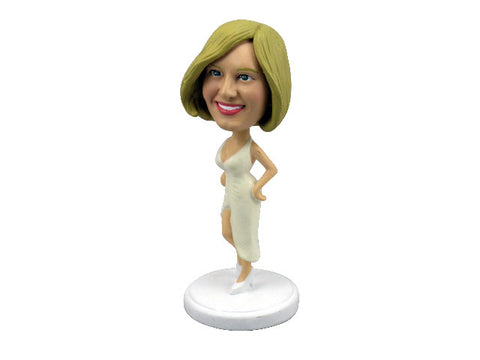 White Party Dress Bobblehead