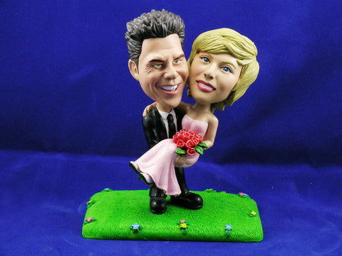 Groom Carrying Bride Cake Topper Bobbleheads