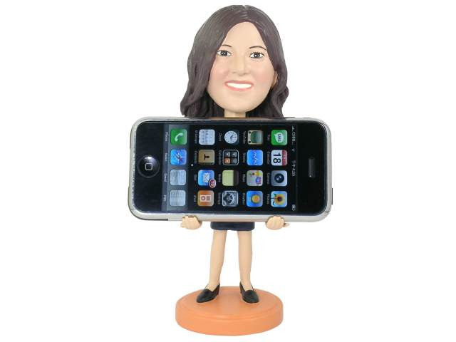 Personalized iPhone Holder Bobblehead for Women