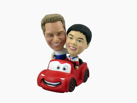 Couple Driving Cartoon Car