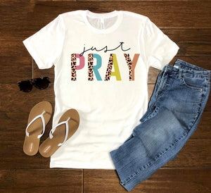 Just Pray Tee - White
