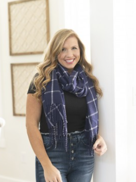 Navy Plaid Adaline Scarf OS