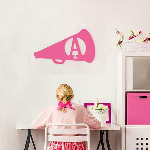 Cheer Megaphone Wood Monogram