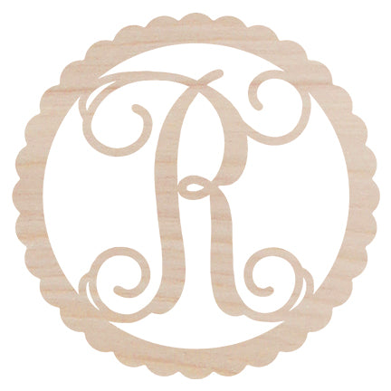 Scallop Design Wood Monogram