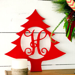 Christmas Tree Wood Monogram