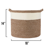 "Large Cotton Rope Basket – 18""x18""x14"" – Large Woven Basket – Multipurpose Blanket Storage Basket Organizer – Elegant and Modern Design – Ideal for Baby Nursery, Toys, Towels, Laundry Bin"