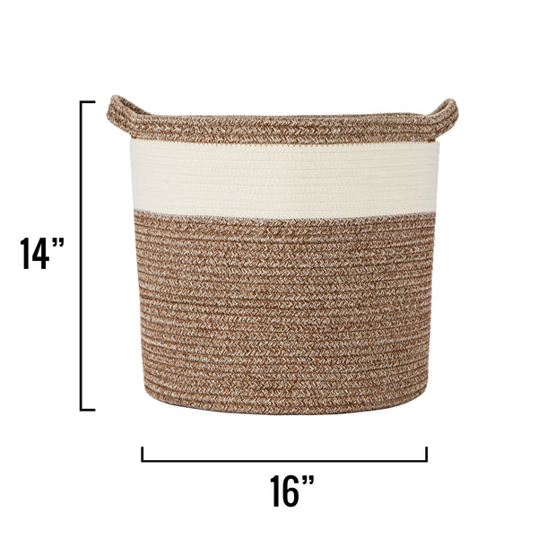 "Medium Cotton Rope Basket – 16""x16""x14"" – Woven Basket – Multipurpose Blanket Storage Basket Organizer – Elegant and Modern Design – Ideal for Baby Nursery, Toys, Towels, Laundry Bin"