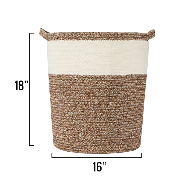 "Tall Cotton Rope Basket – 18""x16""x14"" – Woven Basket – Multipurpose Blanket Storage Basket Organizer – Elegant and Modern Design – Ideal for Baby Nursery, Toys, Towels, Laundry Bin"