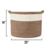 "XL Cotton Rope Basket – 20""x20""x14"" – Large Woven Basket – Multipurpose Blanket Storage Basket Organizer – Elegant and Modern Design – Ideal for Baby Nursery, Toys, Towels, Laundry Bin"