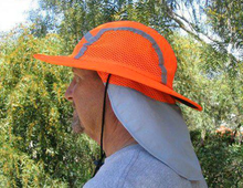 Cooling Sun Safety Hat Top of Head and Neck UPF 50+ Sun Protection |Hi-Vis Materials