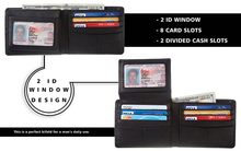 bifold rfid wallet 2 id window