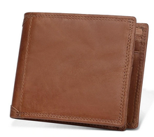100% Genuine Cow Leather RFID Wallet with Coin Pocket and Flip Up ID