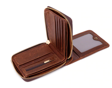 RFID Zippered Genuine Leather Wallet w/Separate ID Section