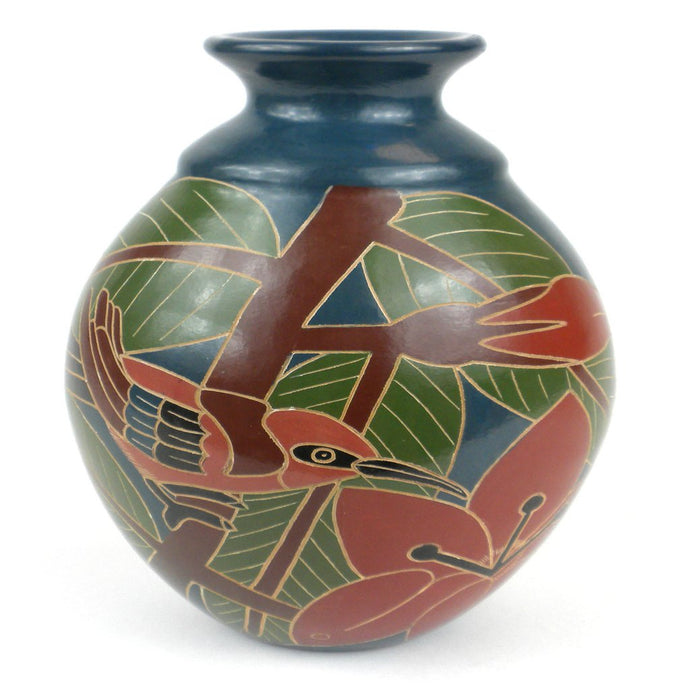 Artisan Pottery 8 inch Tall Vase - Red Bird