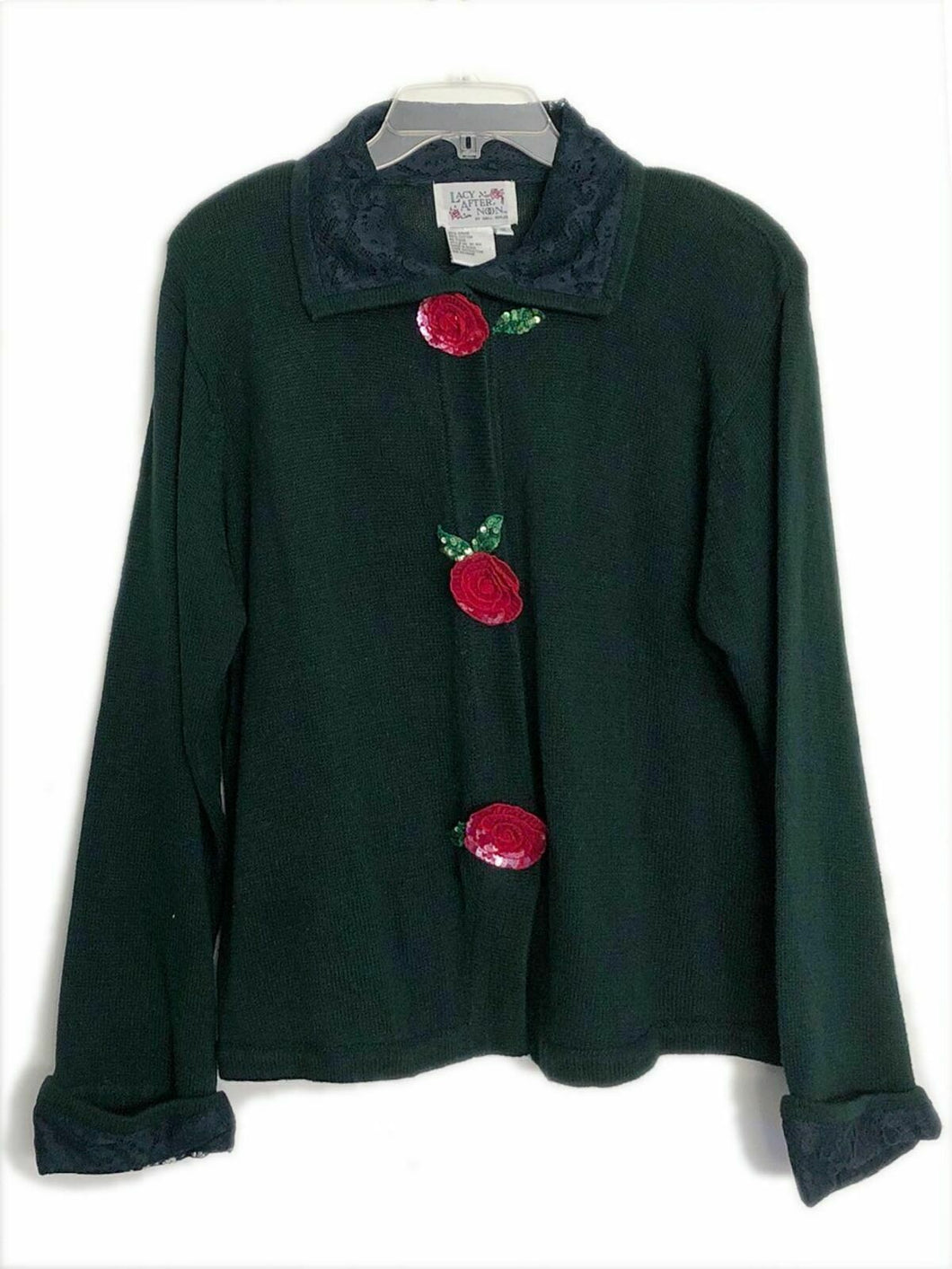 Lacy Afternoon Shell Kepler Vintage Sweater jacket art to wear green sz 1X NEW