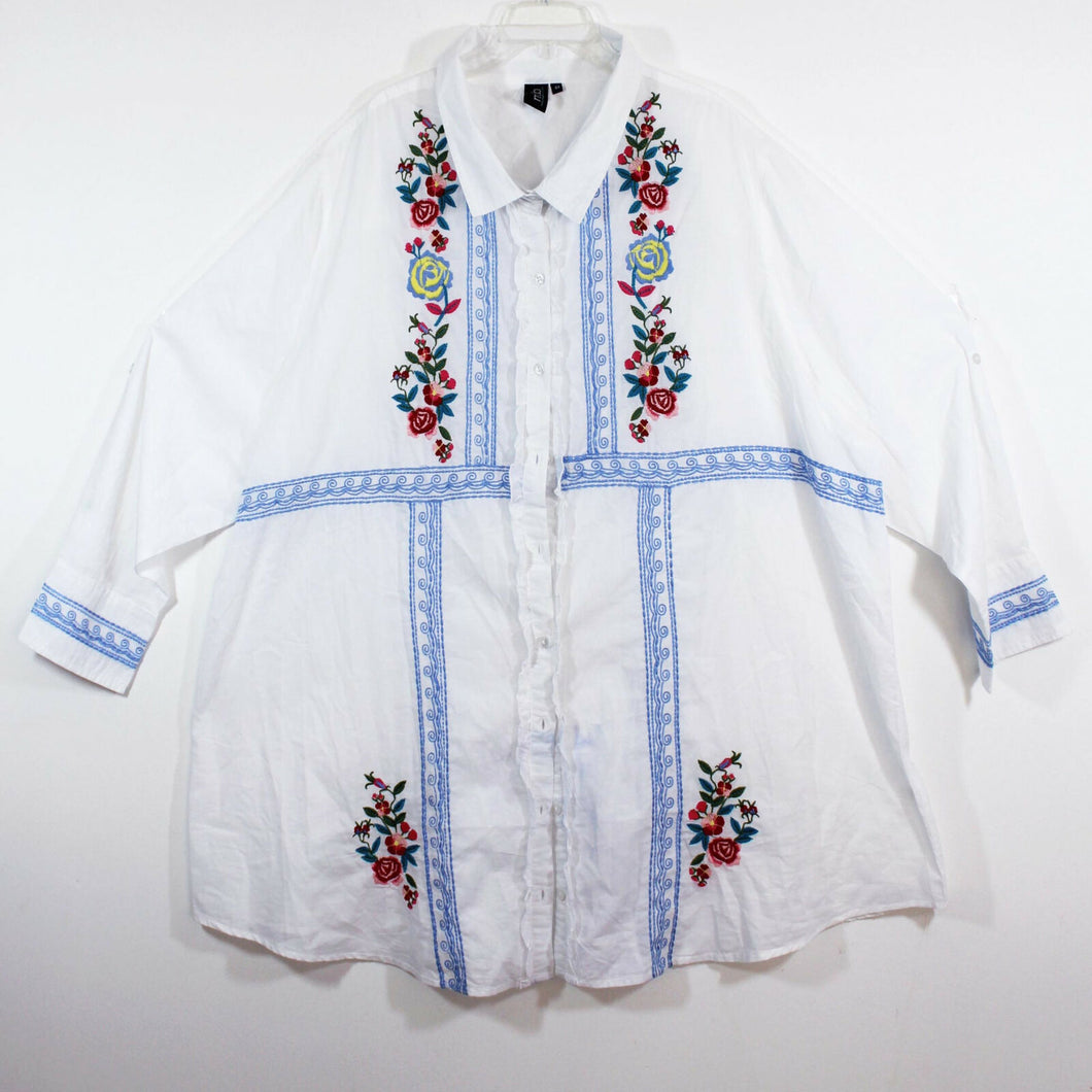 M.I.B jacket lagenlook top art to wear white embroidered peasant artsy sz 4X