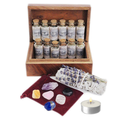UnaLunaMoona Witchcraft Kit Box with Witchcraft Crystals | 21 Supplies Wiccan Wicca Pagan Witch Herbs